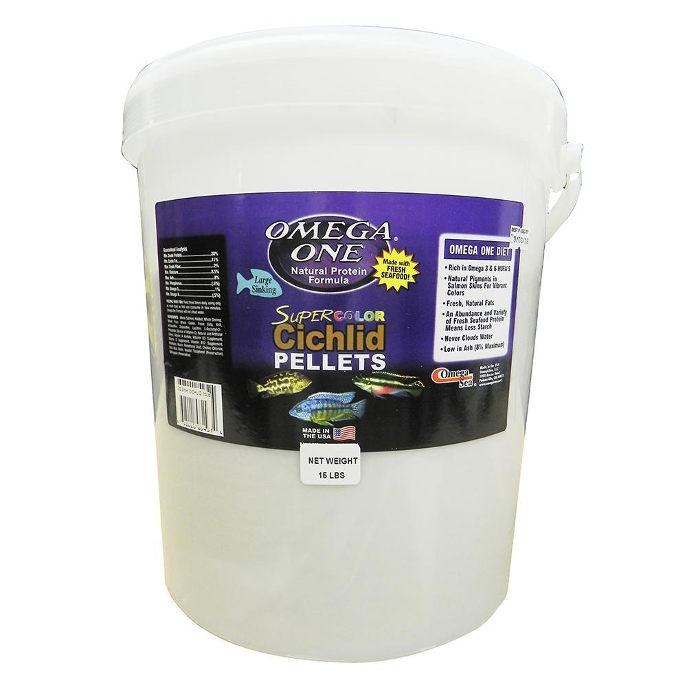 Omega One Super Color Cichlid Lg Sinking Fish Pellets 15-lb