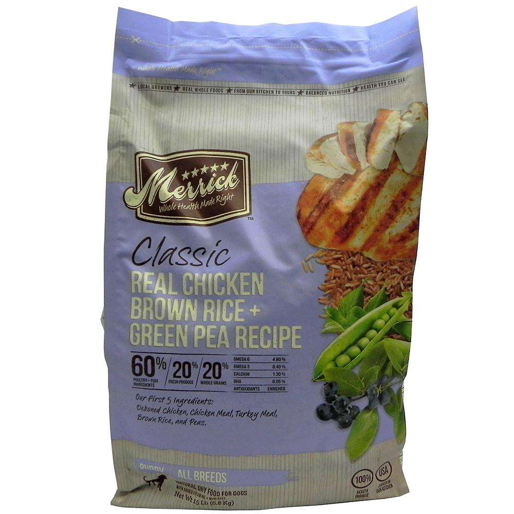 Merrick Chicken with Brown Rice and Pea Puppy Food 4Lb.