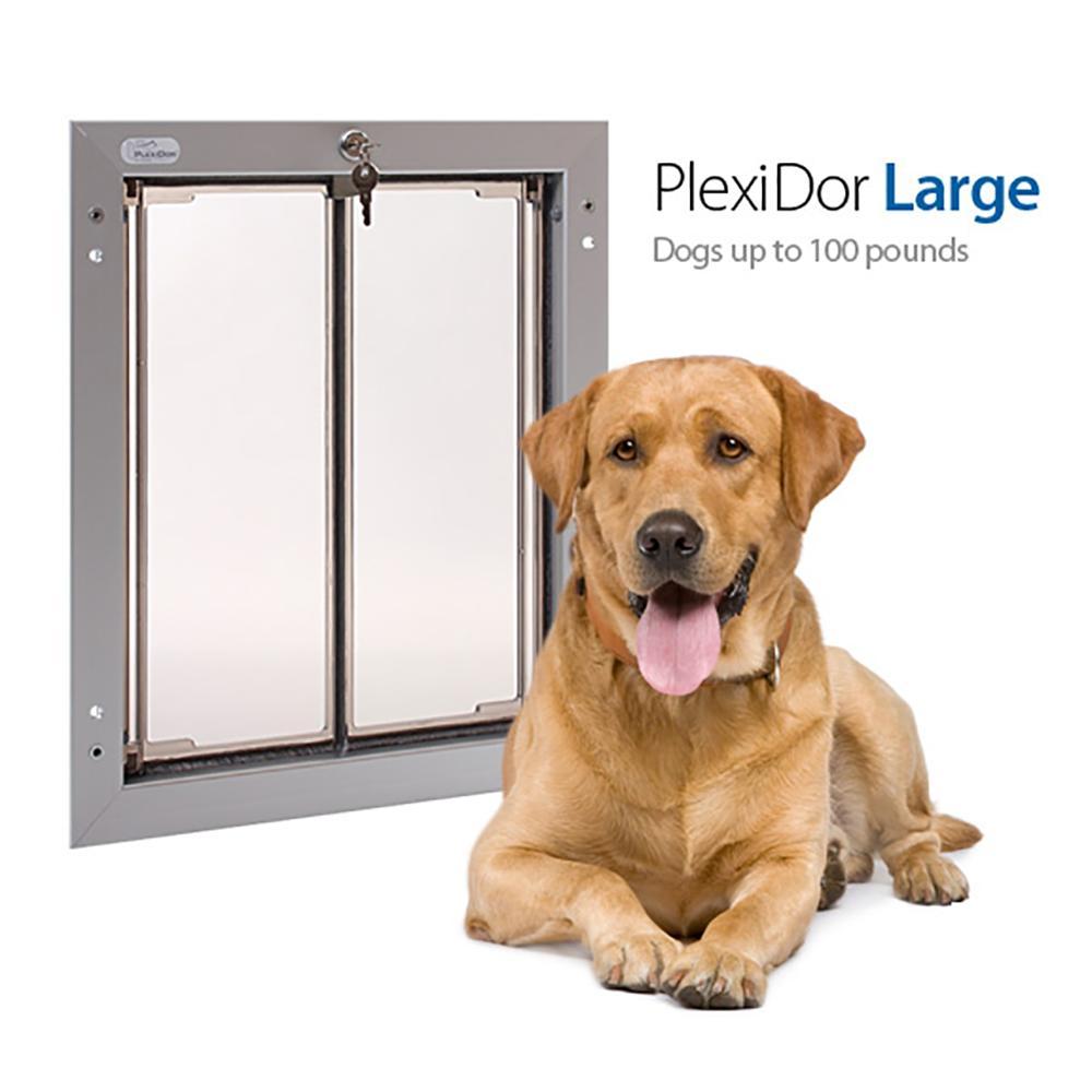 PlexiDor Large Silver Heavy Duty Security Dog Door for Doors