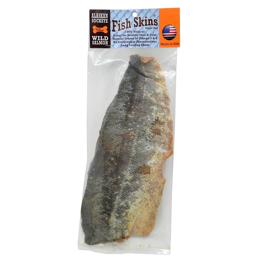 alaskan wild sockeye salmon fish skin whole dog chews