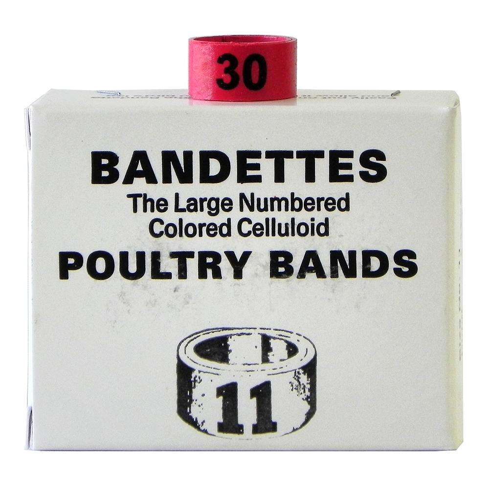 Poultry Numbered Leg Bands Red Size 11 Numbered 26-50