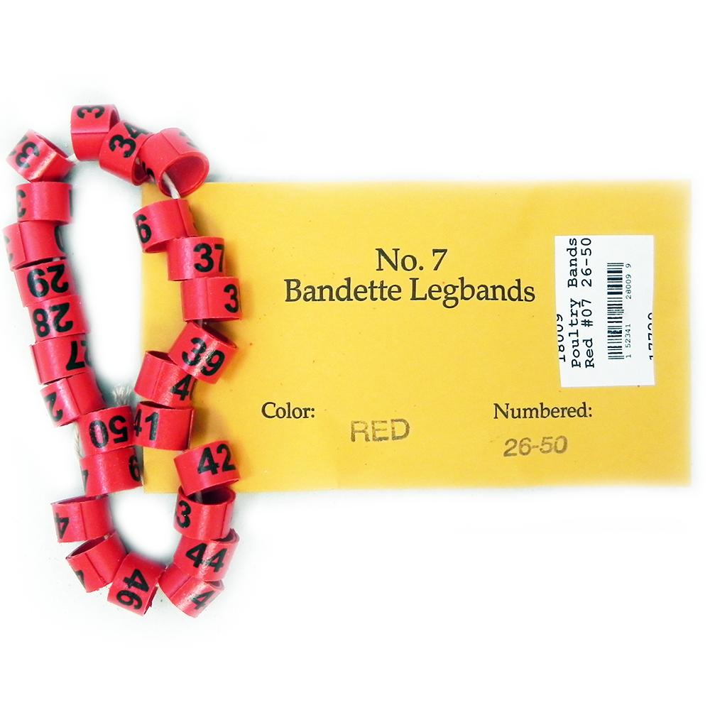 Poultry Numbered Leg Bands Red Size 7 Numbered 26-50