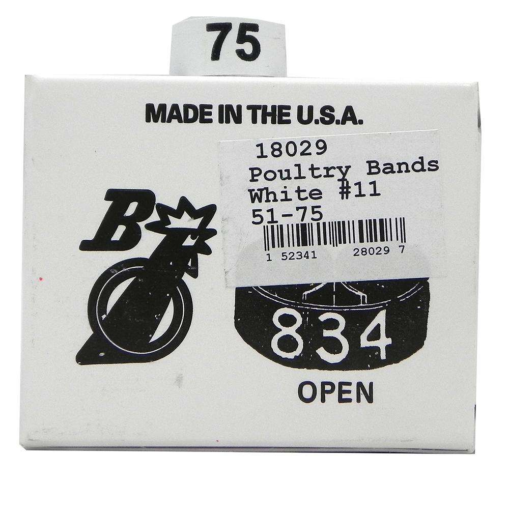 Poultry Numbered Leg Bands White Size 11 Numbered 51-75