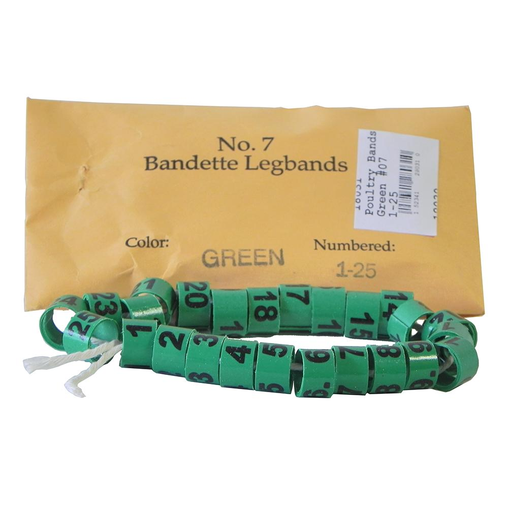 Poultry Numbered Leg Bands Green Size 7 Numbered 1-25