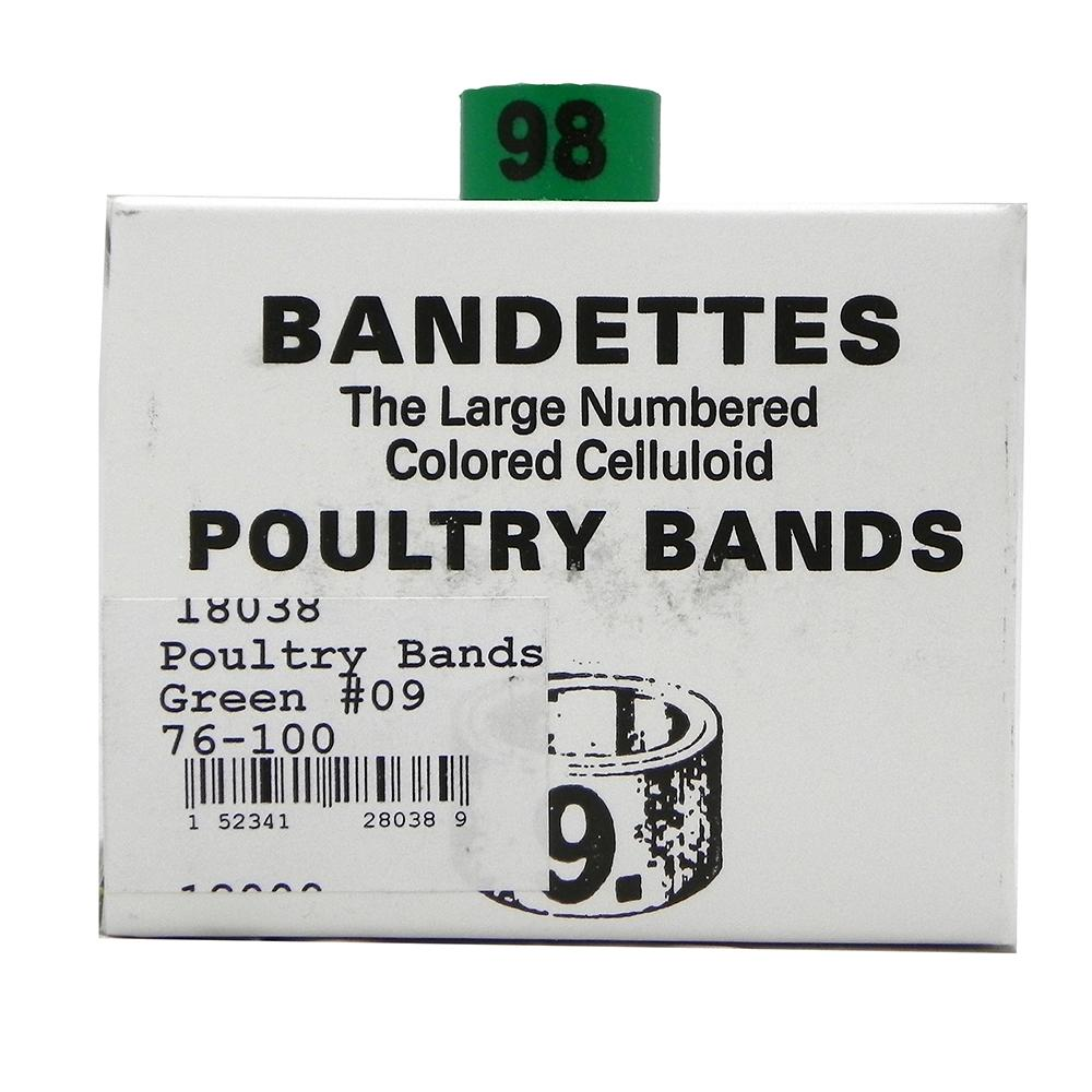 Poultry Numbered Leg Bands Green Size 9 Numbered 76-100