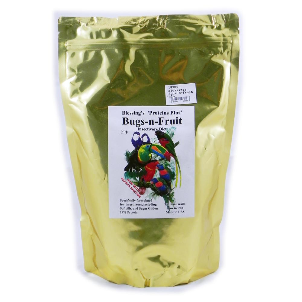 Blessing's Bugs-N-Fruit Low-Iron Insectivore Diet 3-Lb.