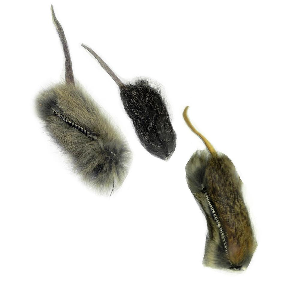Handmade Real Fur Mouse Cat Toy 3 Pack