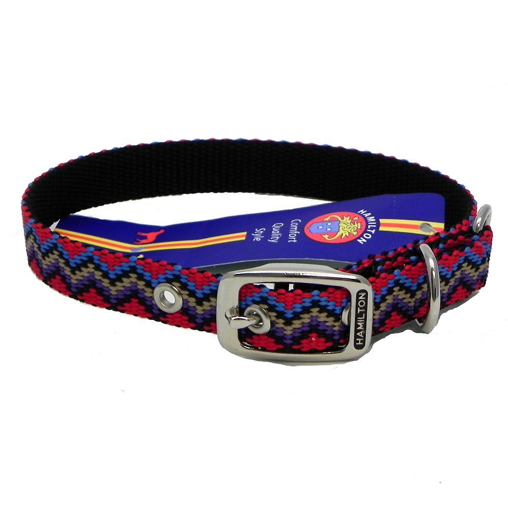 Hamilton Nylon Dog Collar Black Weave 5/8 x 16-inch