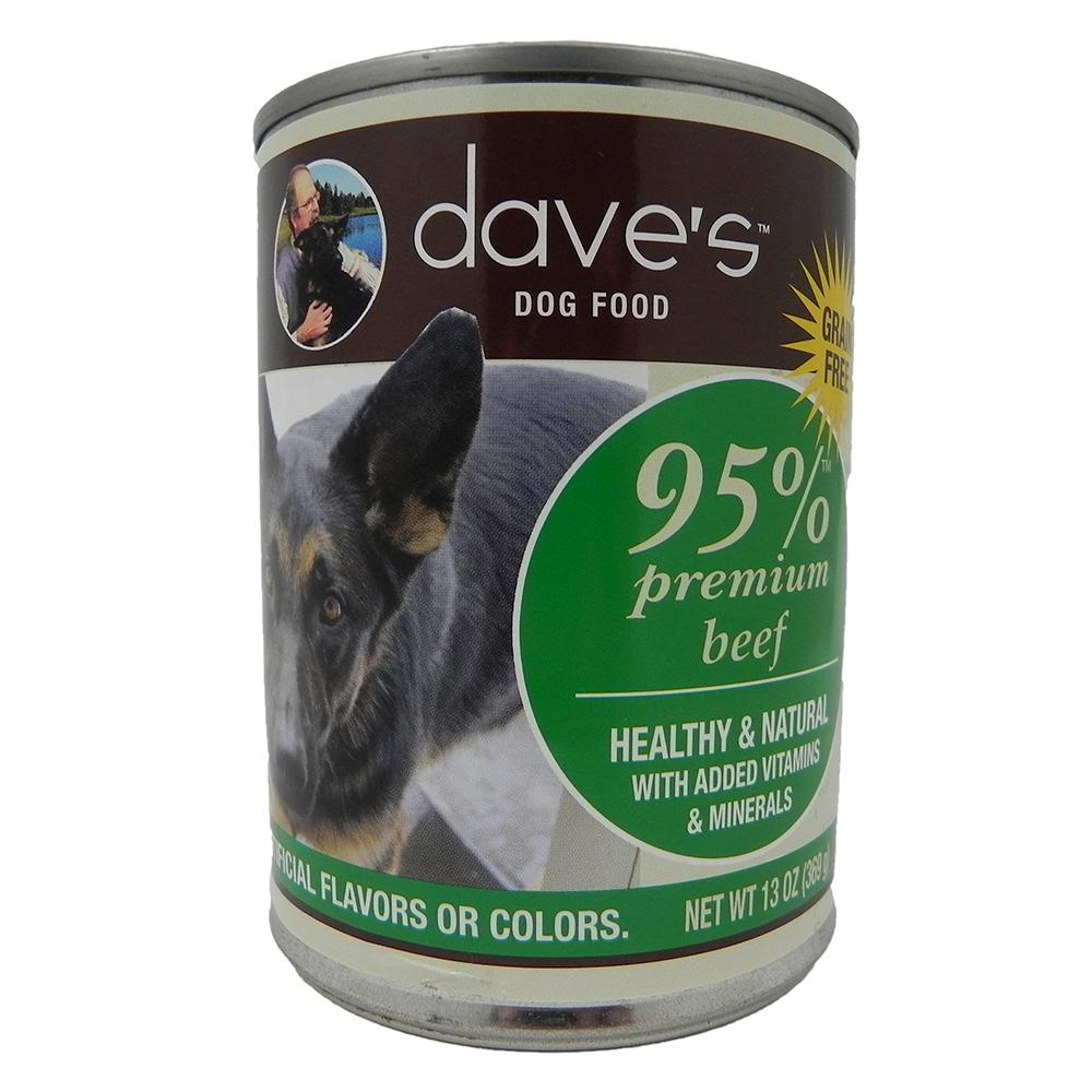 Dave's 95% Premium Meats Canned Dog Food Beef 13oz case