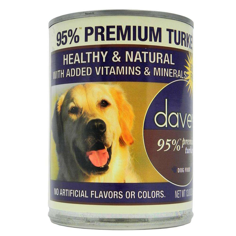 Dave's 95% Premium Meat Canned Dog Food Turkey 13oz case