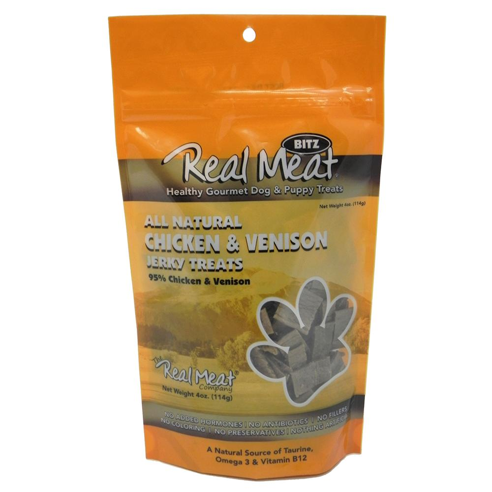 Real Meat All Natural Chicken and Venison Dog Treats 4oz.