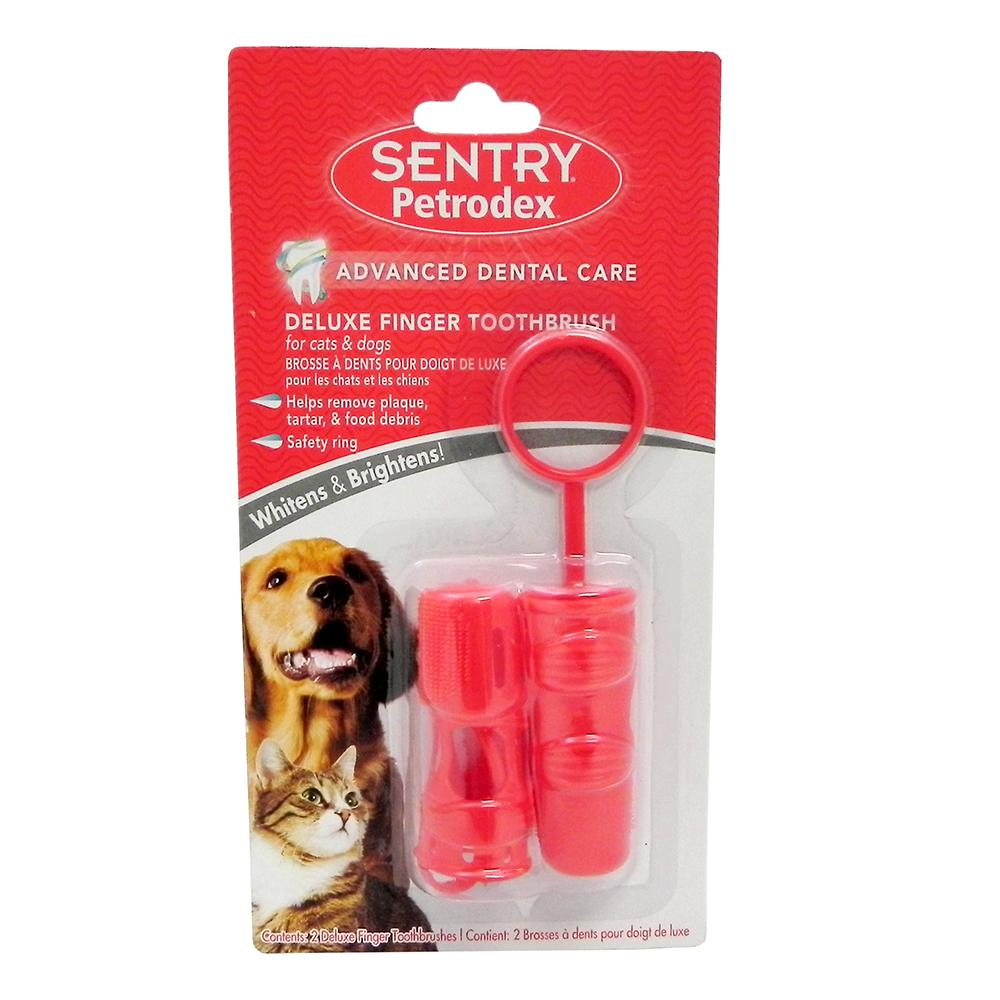 Sentry Deluxe Finger Toothbrush Dog Cat 2pk