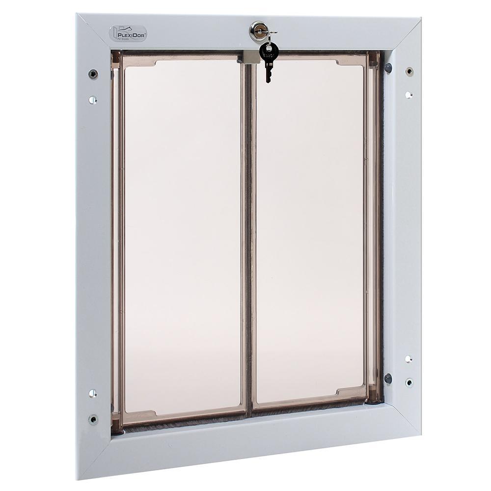 PlexiDor Large White Heavy Duty Security Dog Door for Doors