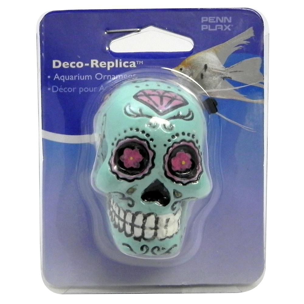 Sugar Skull Aquarium Ornament Blue