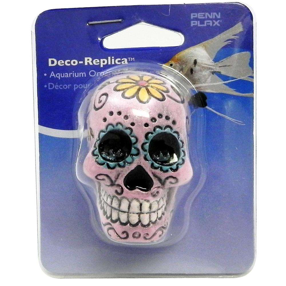 Sugar Skull Aquarium Ornament Pink