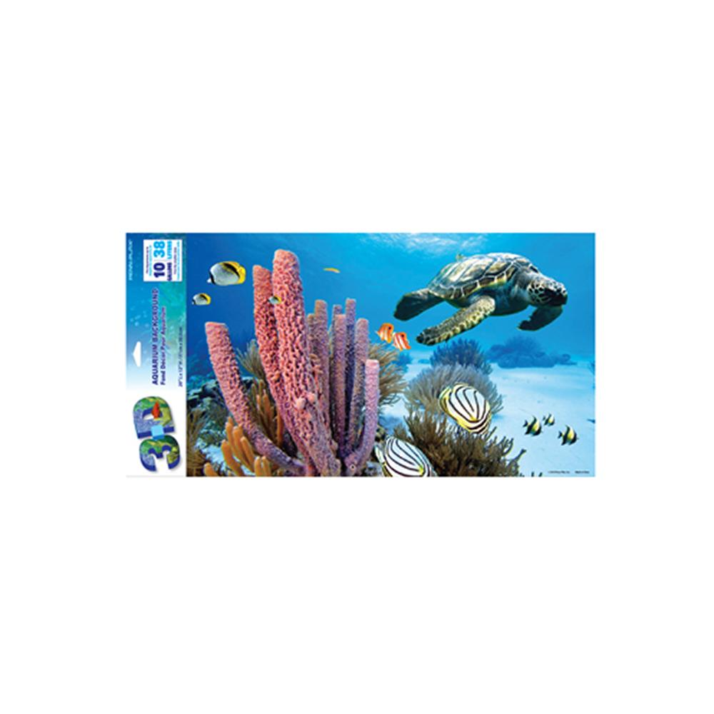 Sea Turtle 3D Aquarium Background 20 x 12-in.