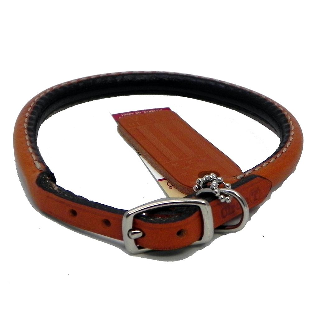 images Circle T Oak Tanned Leather Round Dog Collar, 10.5 - 12 in, Tan