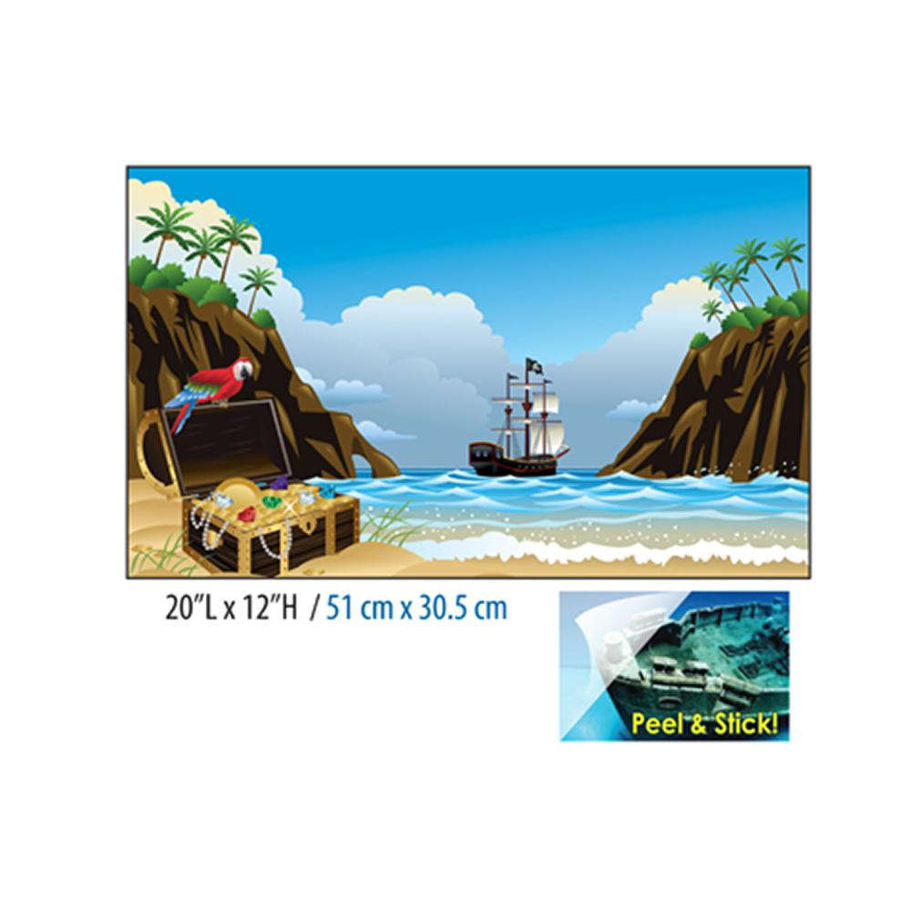 Cling-On Aquarium Background Pirate Ship 20 x 12-in.