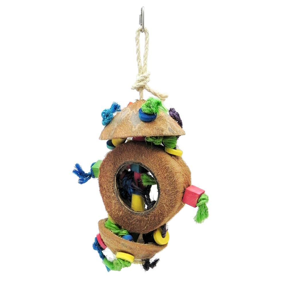 Coconut Kabob with Wood and Sisal Medium to Large Bird Toy
