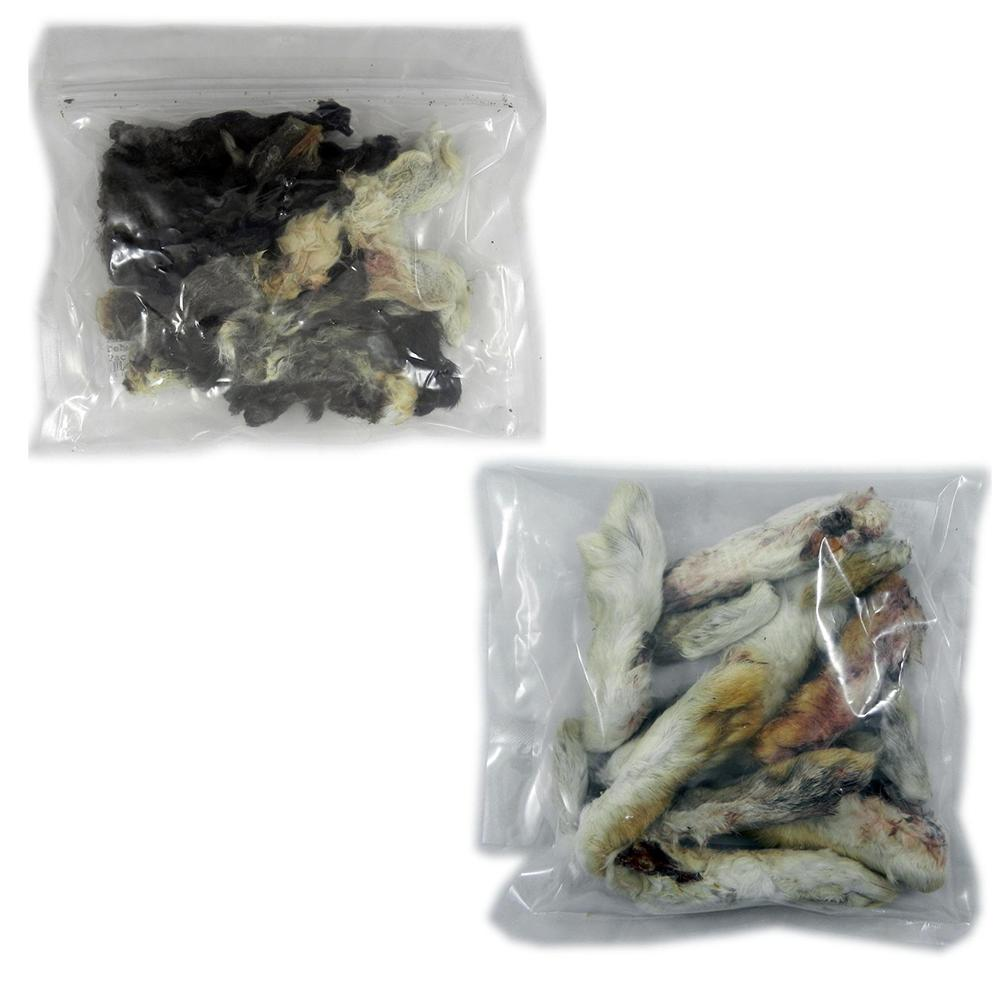 Dehydrated Rabbit Feet and Rabbit Ears Natural Treats 2 Pac