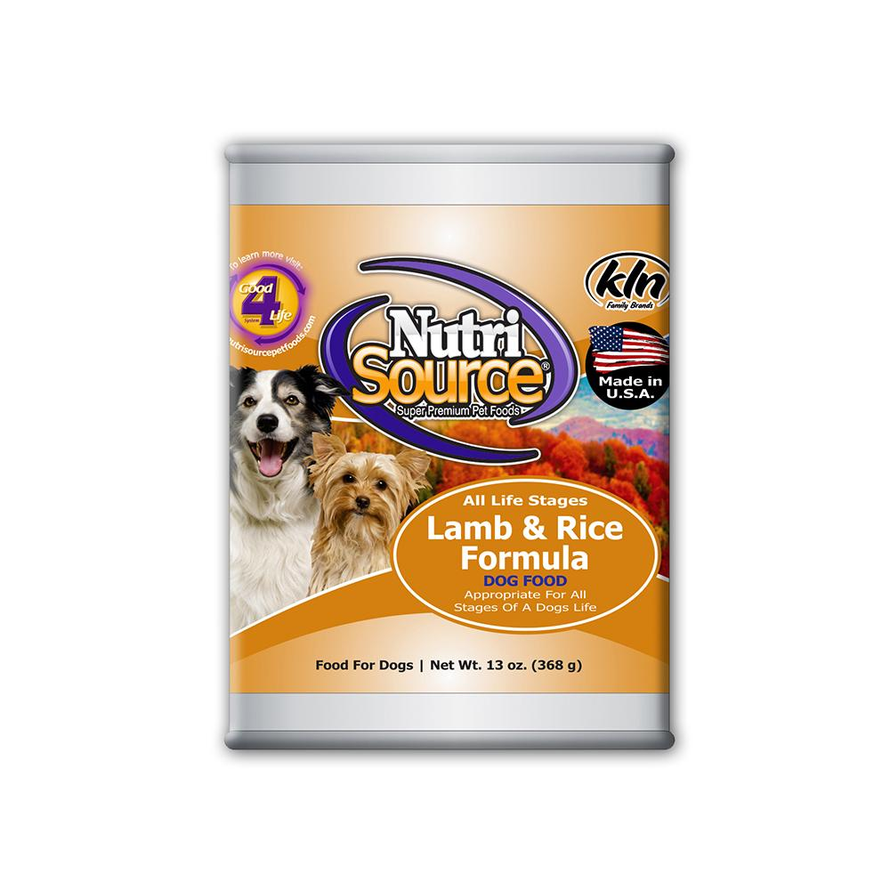 NutriSource Lamb and Rice Dog Food Single 13oz. Can