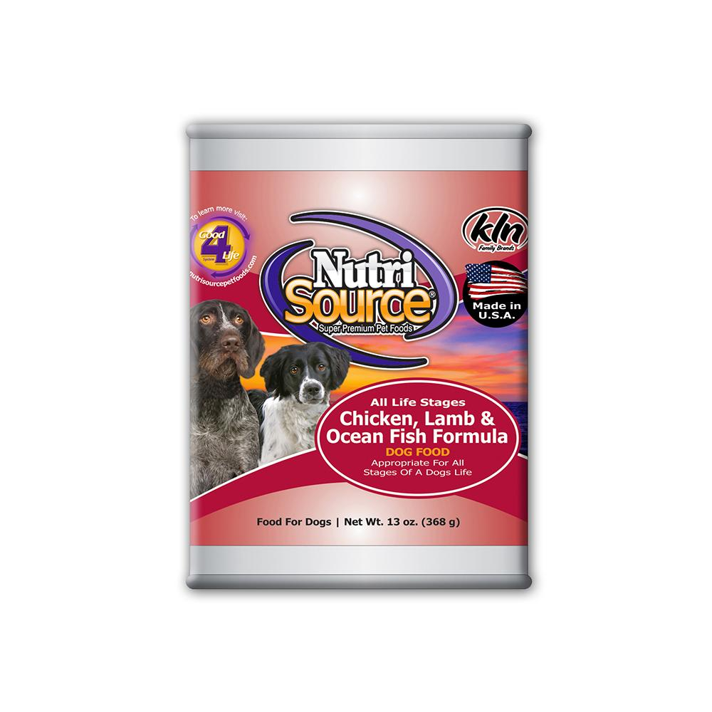 NutriSource Chicken Lamb Fish Canned Dog Food 13oz. each