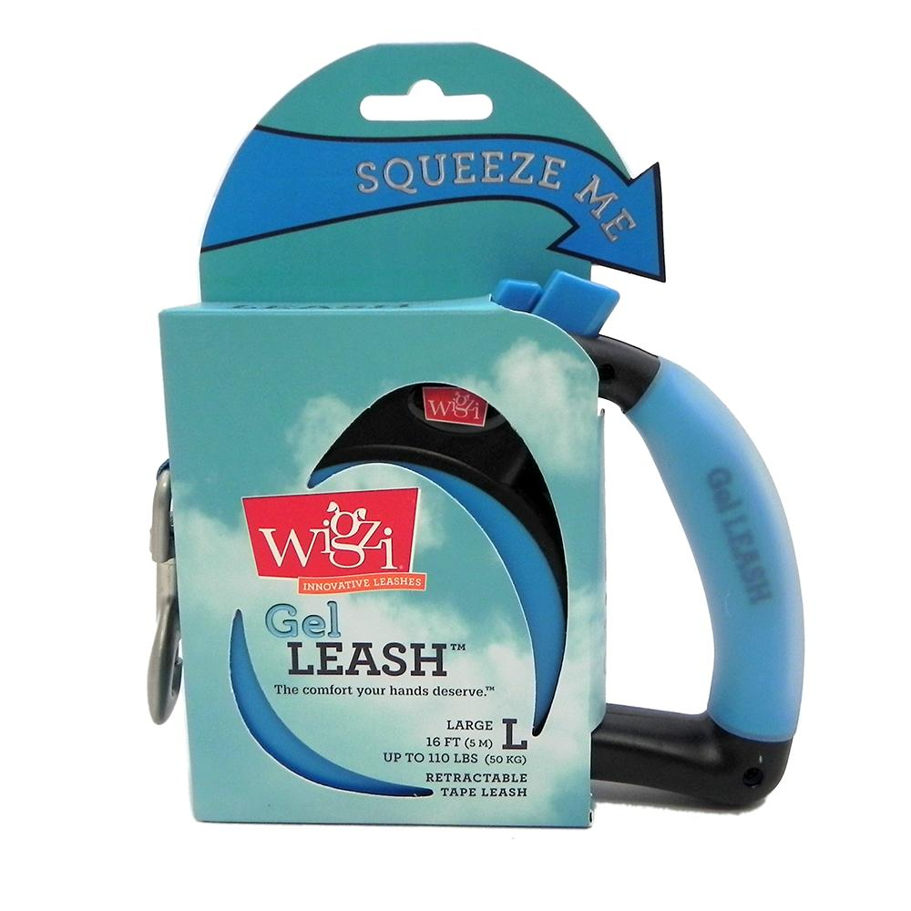 Wigzi Large Blue Retractable Leash with Gel Handle