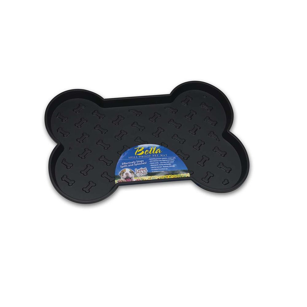 Bella Small Dog Food Dish Mat Black