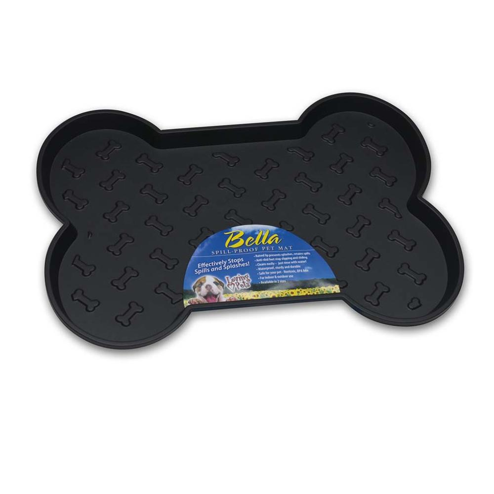 bella large dog food dish mat black