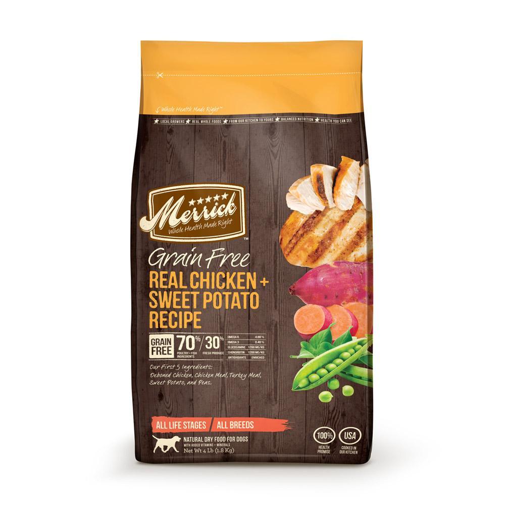 Merrick Grain Free Chicken and Sweet Potato Dog Food 4Lb.
