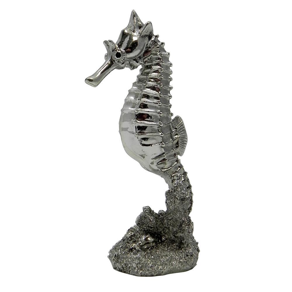 Silver Sea Horse Aquarium Ornament