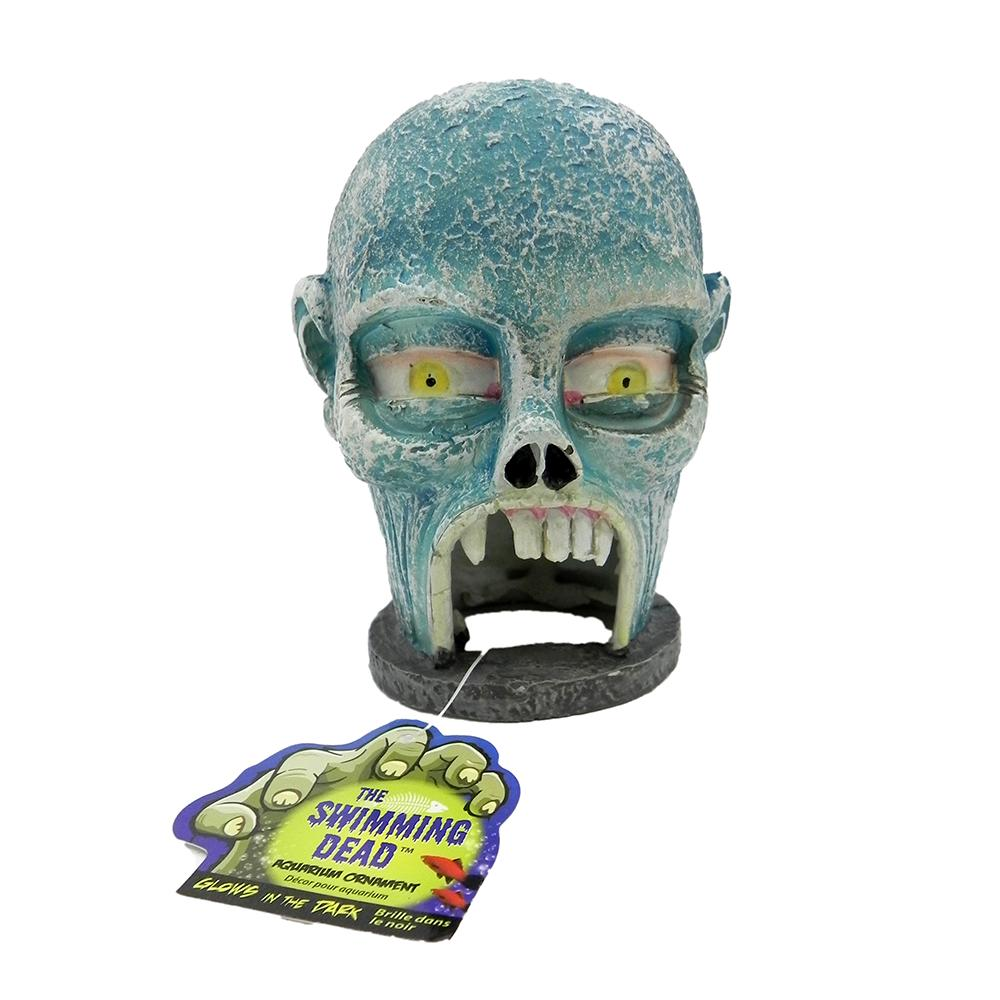 Fish tank decorations zombie - Zombie Skull Glow Hide Away Aquarium Ornament