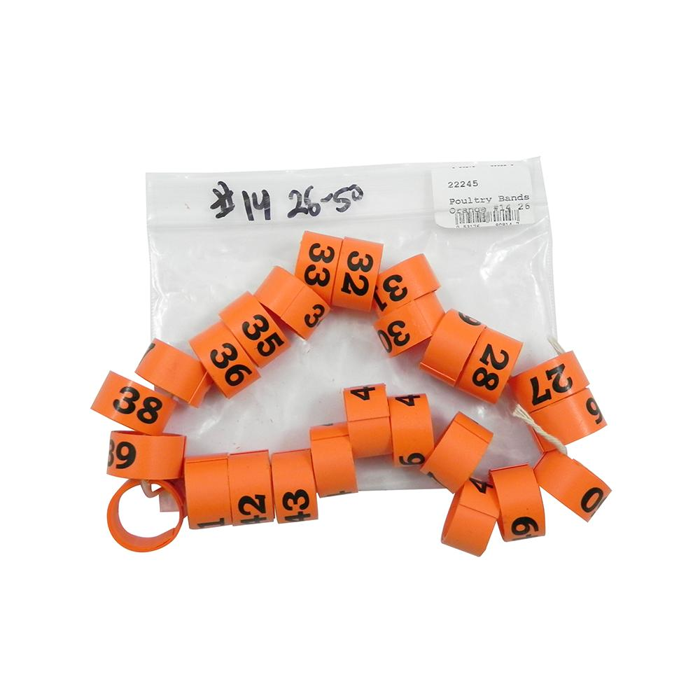 Poultry Numbered Leg Bands Orange Size 14 Numbered 26-50