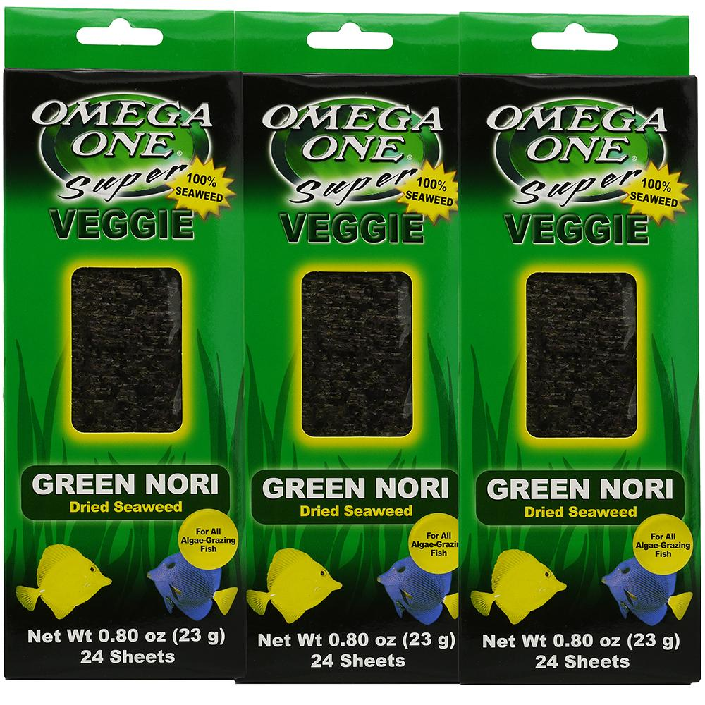 Omega One Super Veggie Green Seaweed Fish Food 24ct. 3 pack