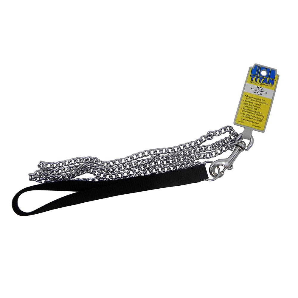 Chain Lead 4ft with Black Handle Fine links Dog Leash