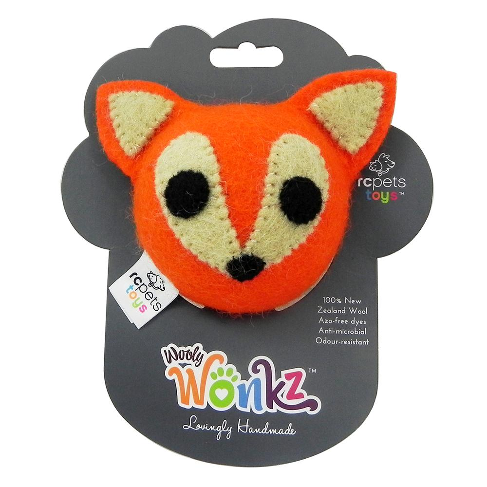 Wooly Wonks Felted Fox Dog Toy med