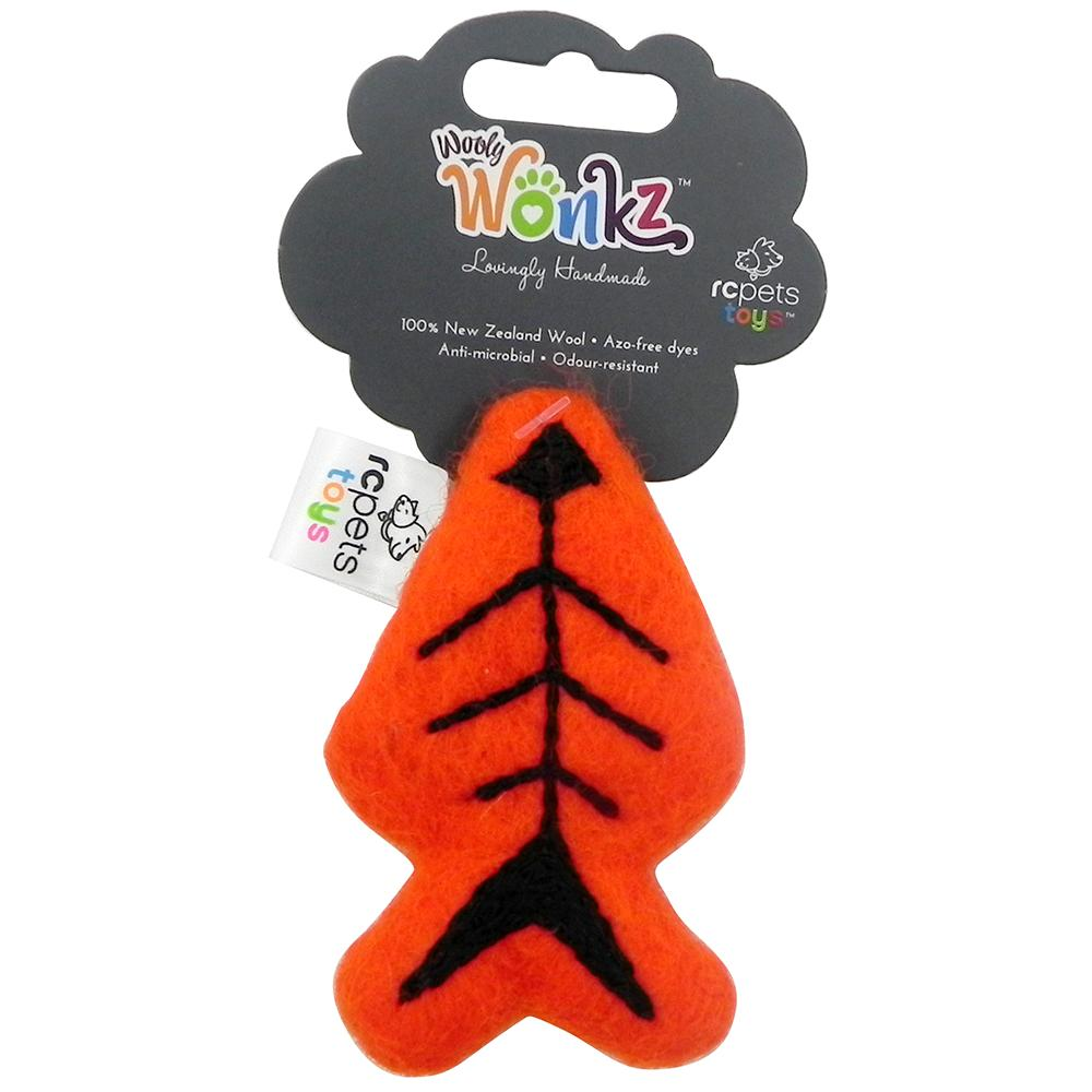 Wooly Wonks Felted Skeleton Fish Cat Toy