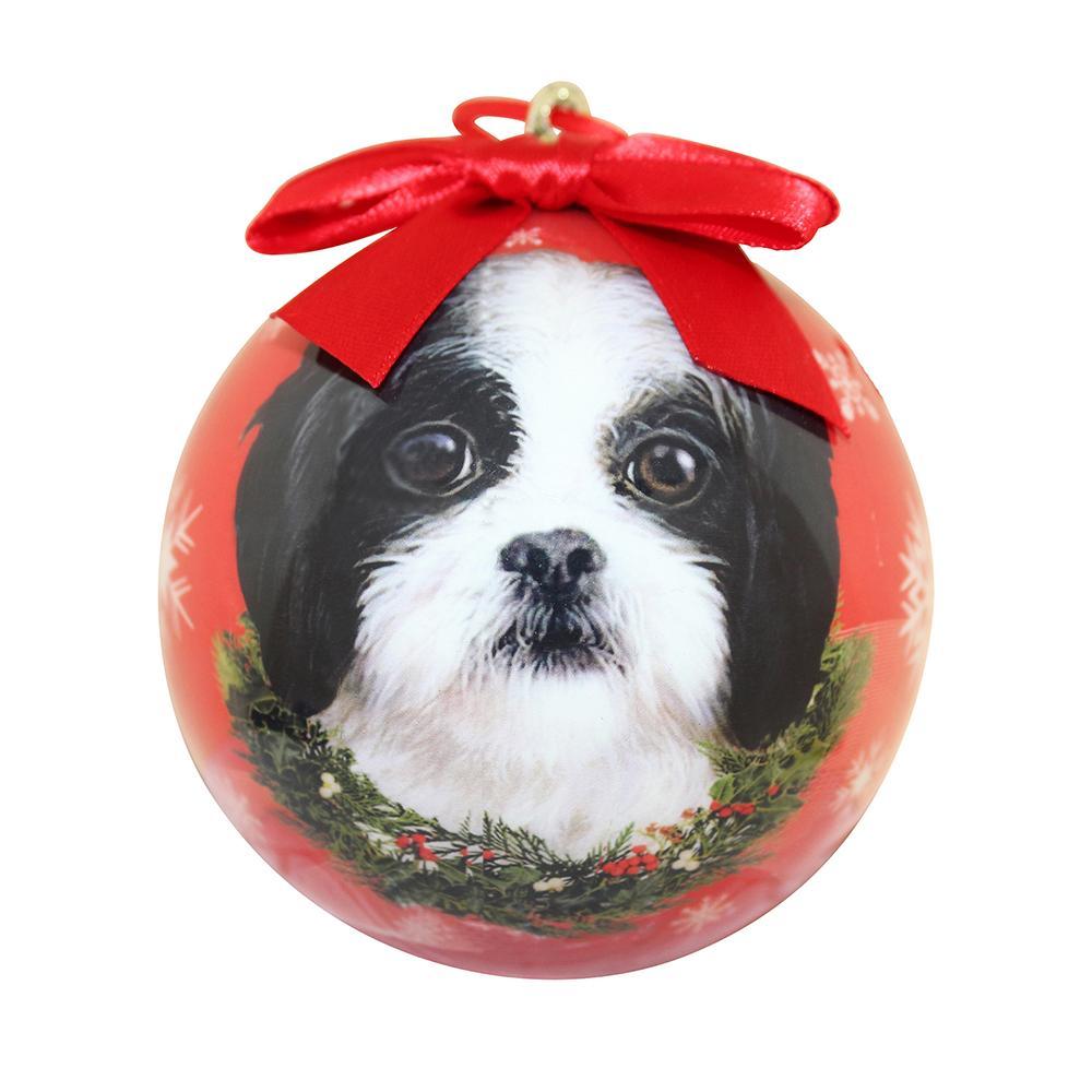 E&S Imports Shatterproof Animal Ornament Shih Tzu B&W