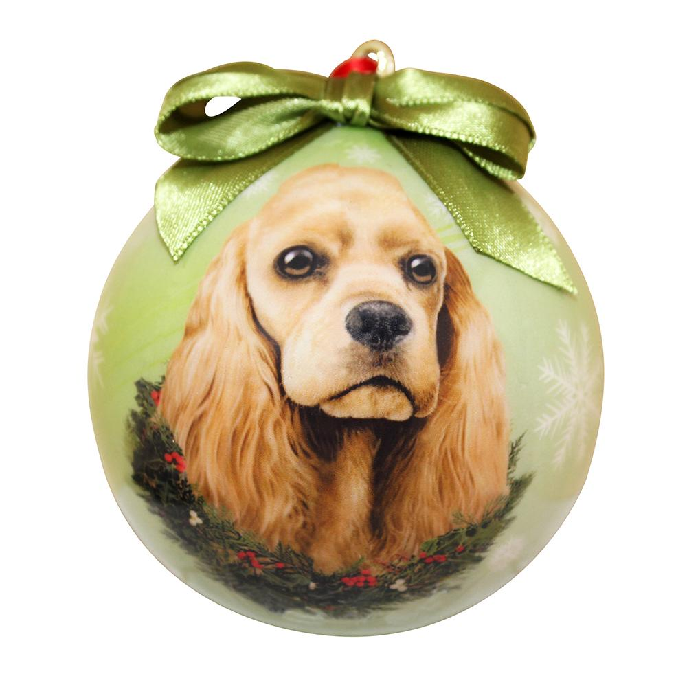 E&S Imports Shatterproof Animal Ornament Cocker Spaniel Buff