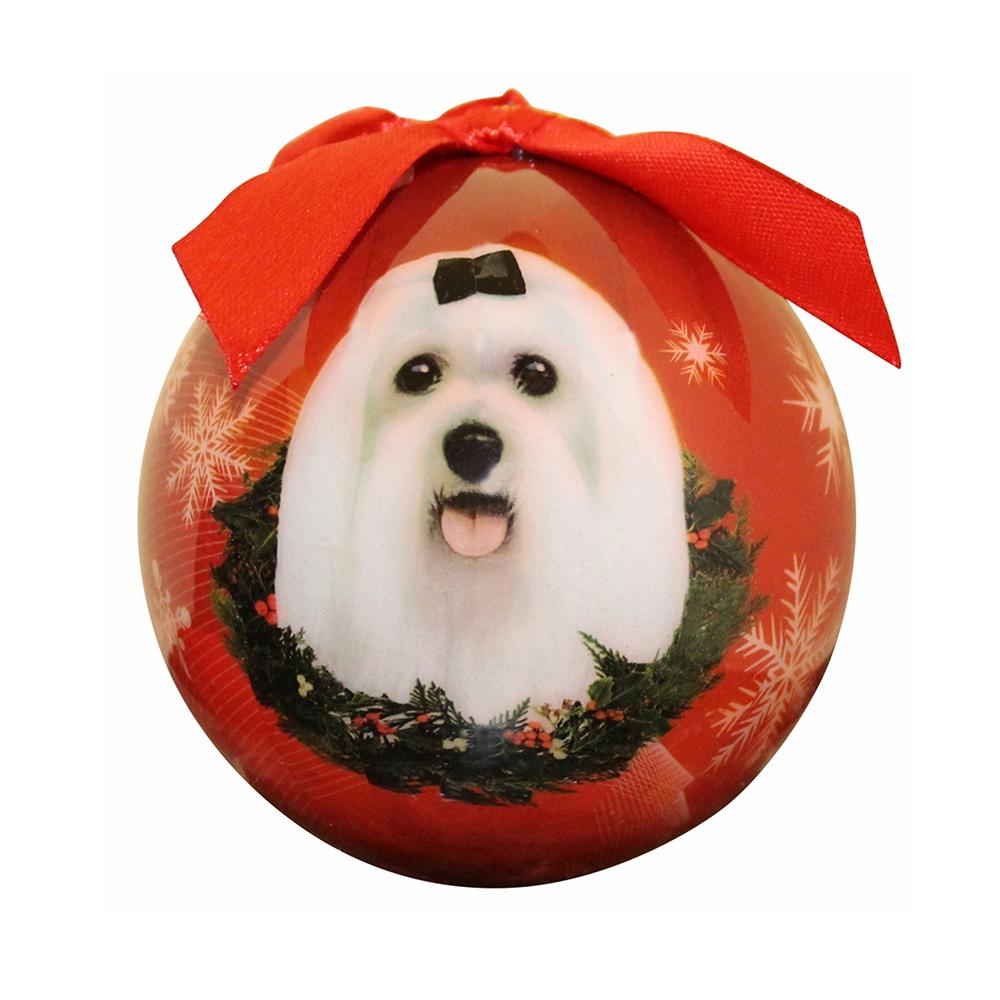 E&S Imports Shatterproof Animal Ornaments Maltese