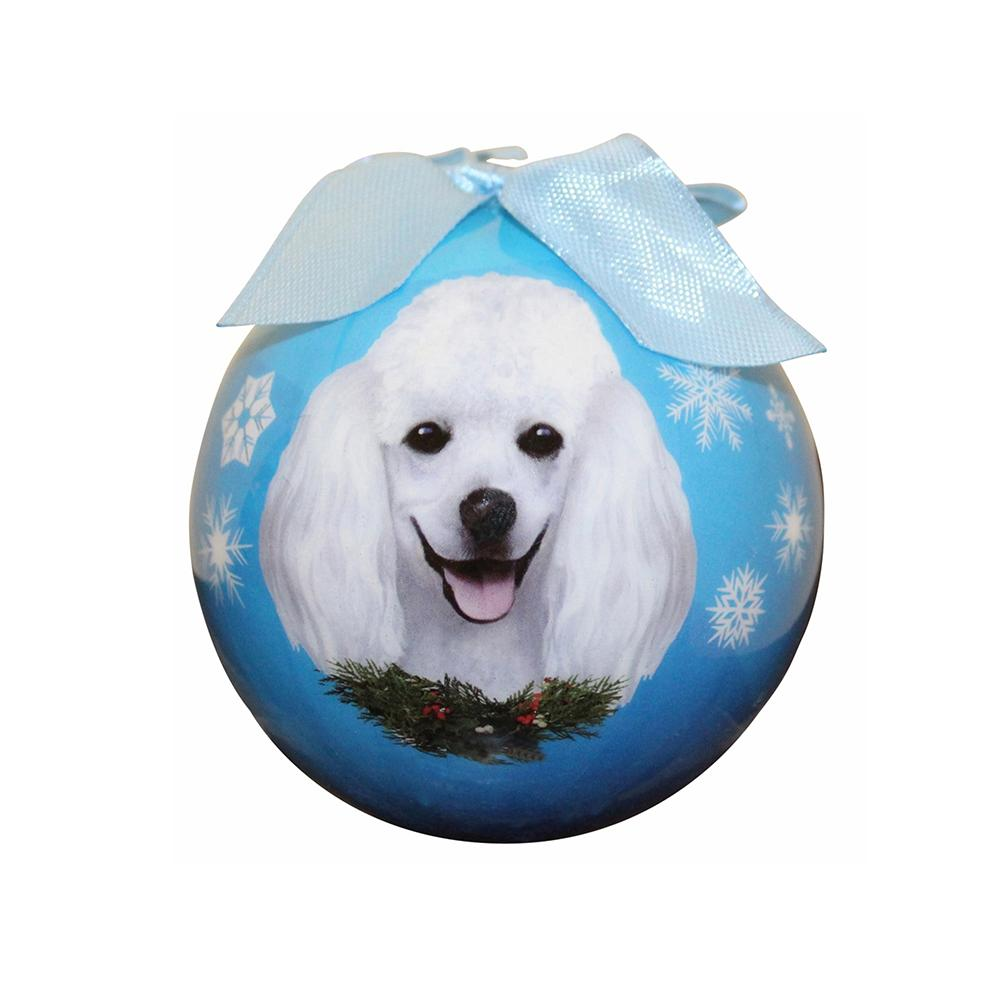 E&S Imports Shatterproof Animal Ornament Poodle White