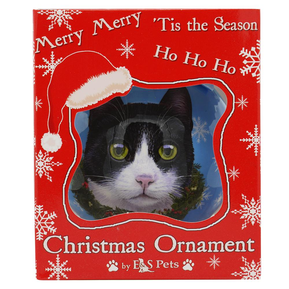 E&S Imports Shatterproof Animal Ornament Tuxedo Cat