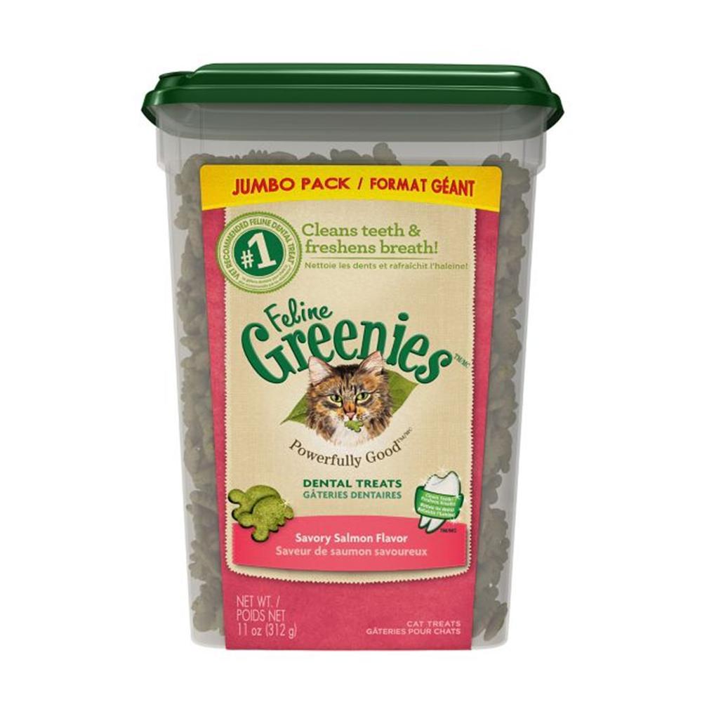 Greenies Feline Salmon Dental Treats for Cats 11.5 oz Tub
