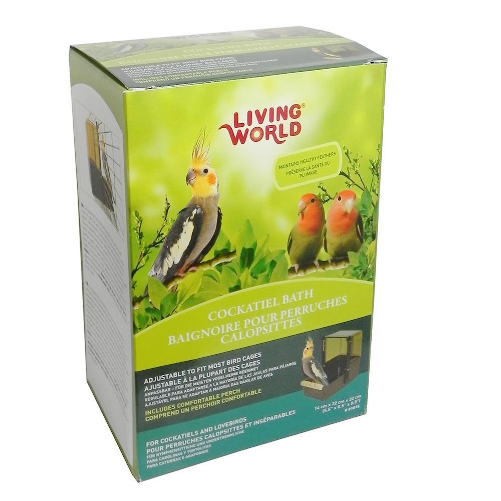 Living World Cockatiel Bird Bath Fits Most Cages