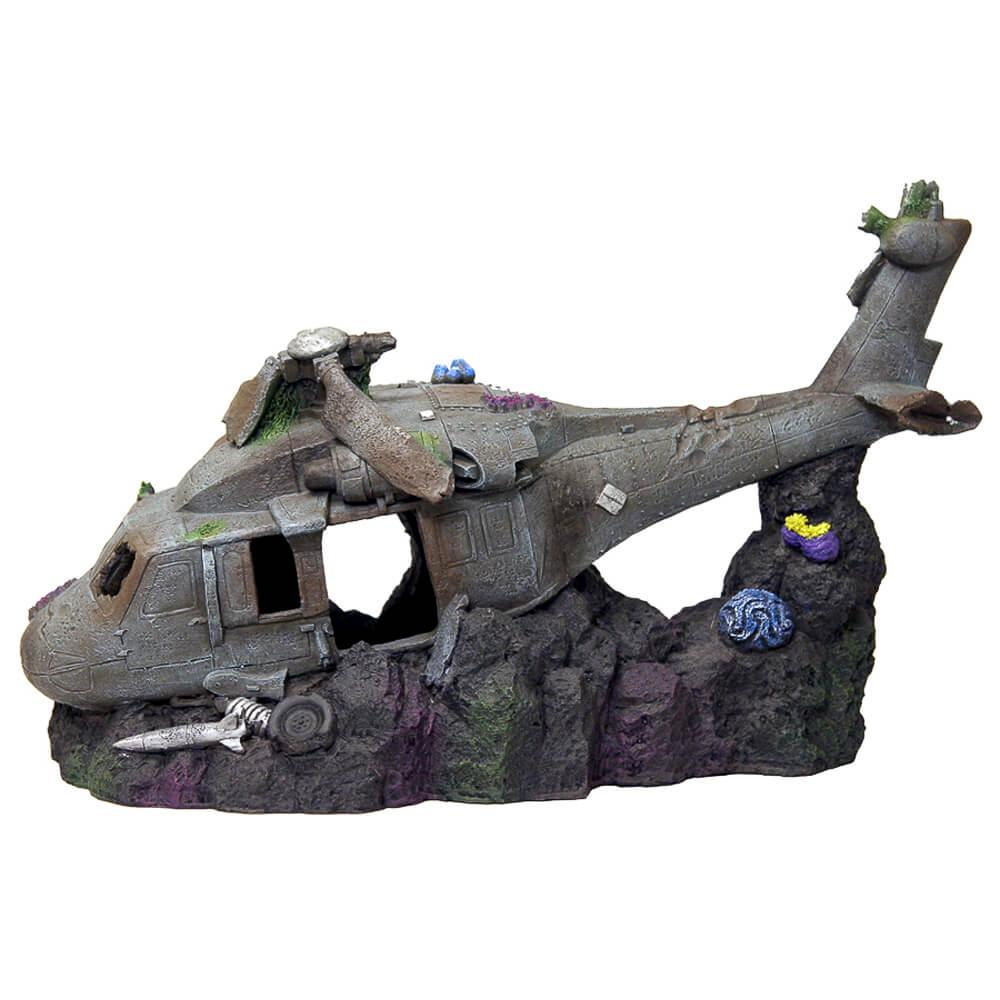 Exotic Environments Sunken Helicopter Aquarium Ornament