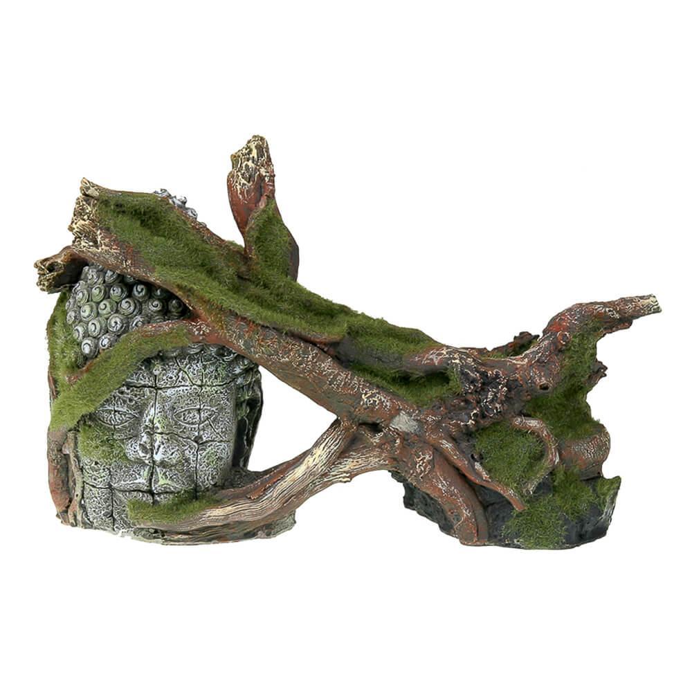 Moss Covered Ruin and Roots Aquarium Ornament
