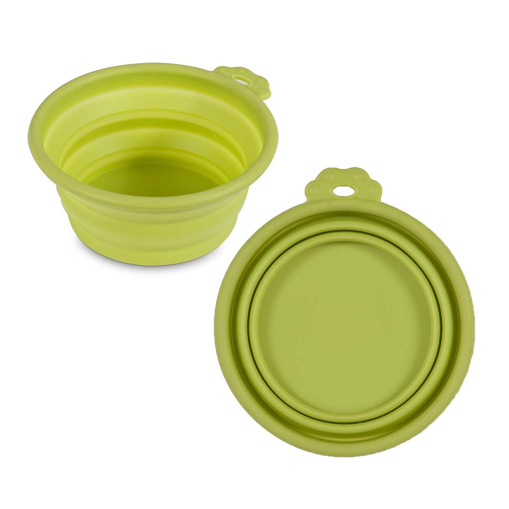 Silicone Pet Food Water Travel Bowl Green 3 Cups