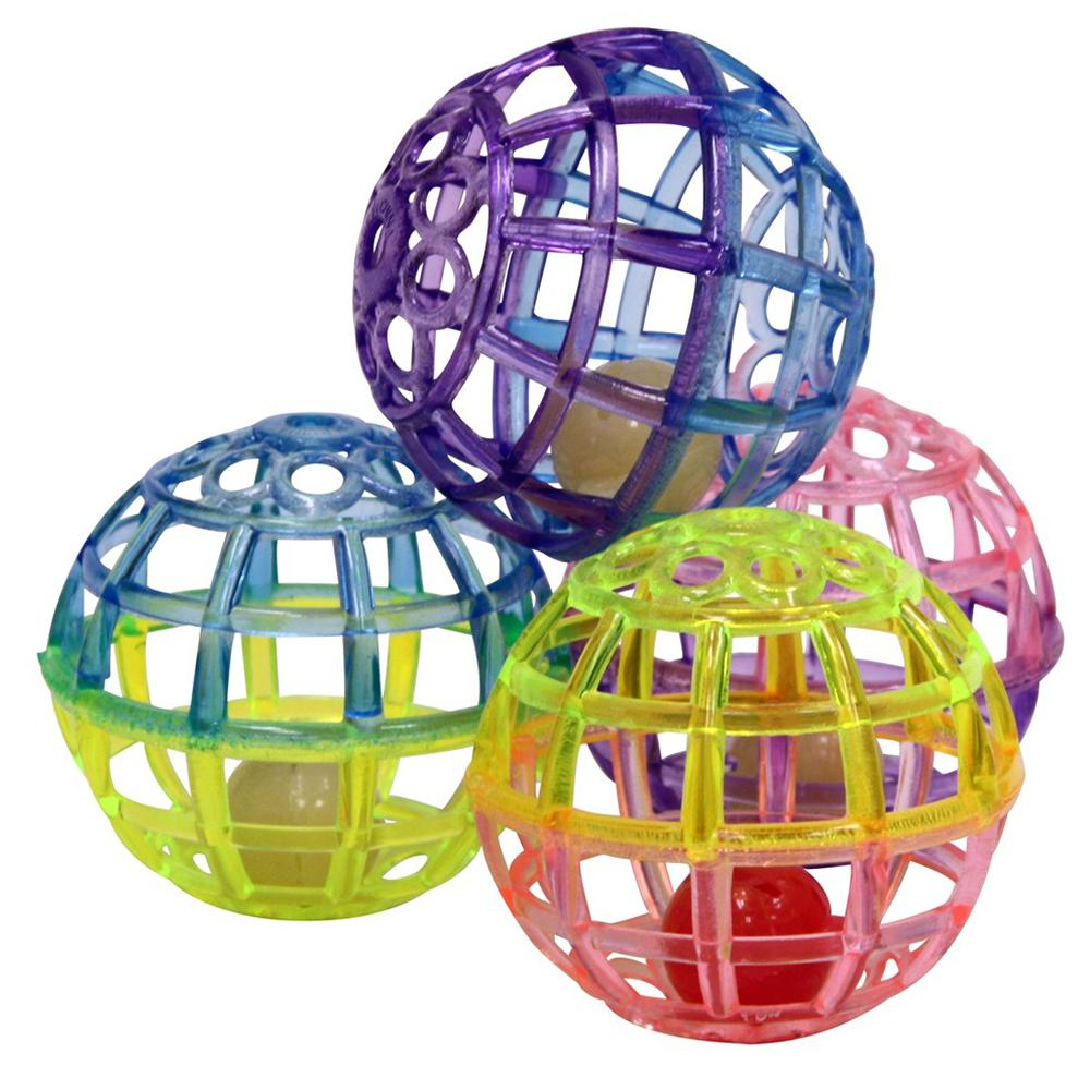 Spot Lattice Multicolored Balls with Bells for Cats Toy 4 Pk