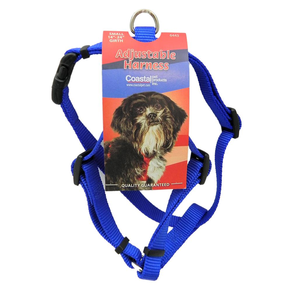 Adjustable Small Dog Harness 5/8-inch Blue Nylon