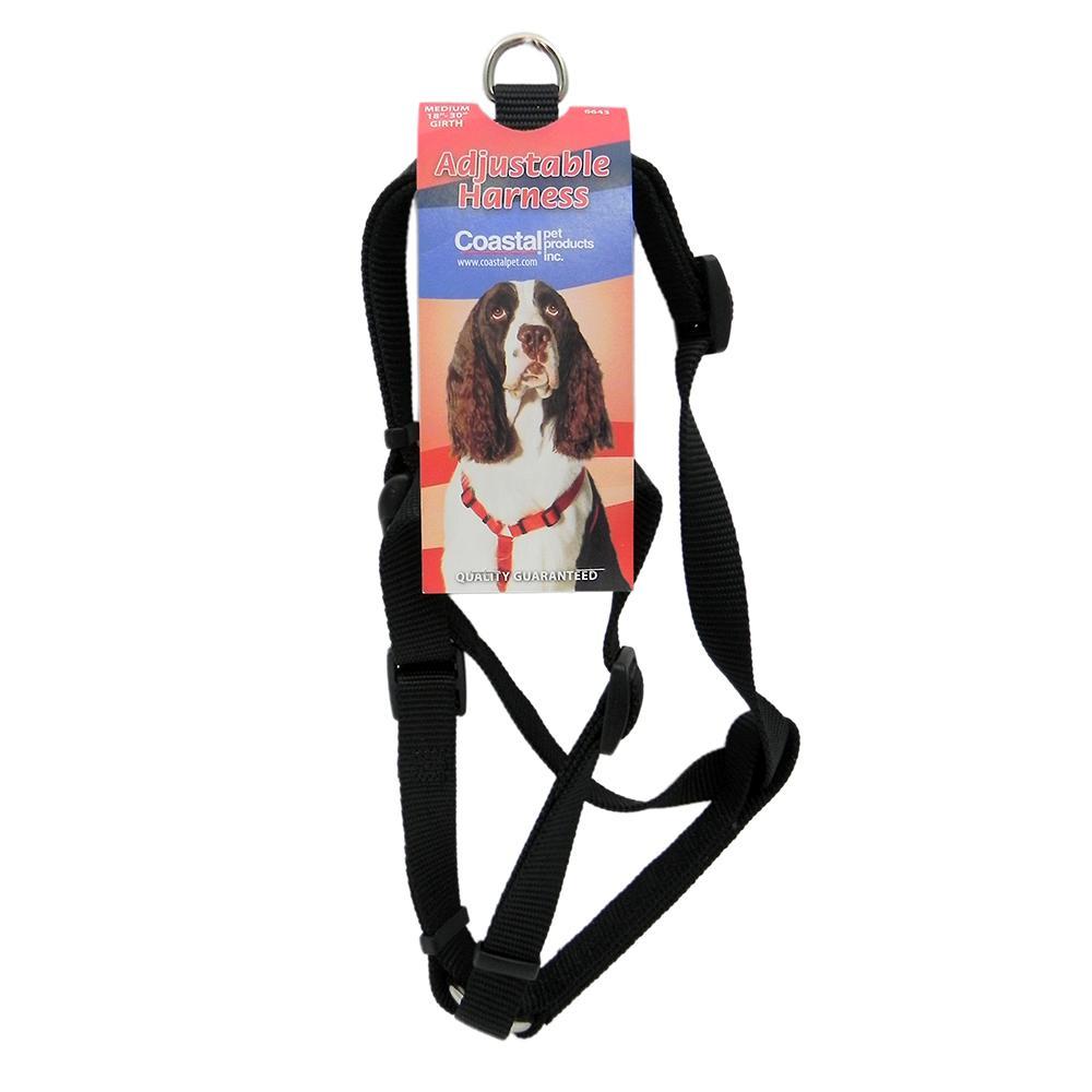 Adjustable Medium Dog Harness 3/4-inch Black Nylon